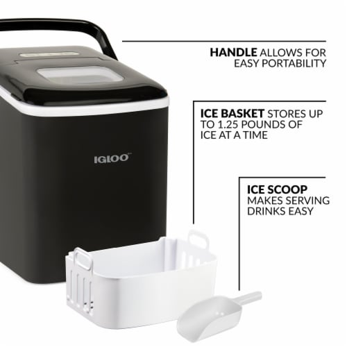 Igloo Automatic Self-Cleaning Portable Countertop Ice Maker Machine With Handle - Black Perspective: back