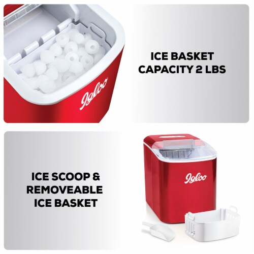 Igloo Automatic Portable Countertop Ice Maker - Retro Red Perspective: back