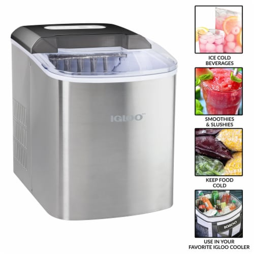 Igloo Automatic Portable Countertop Ice Maker - Stainless Steel Perspective: back
