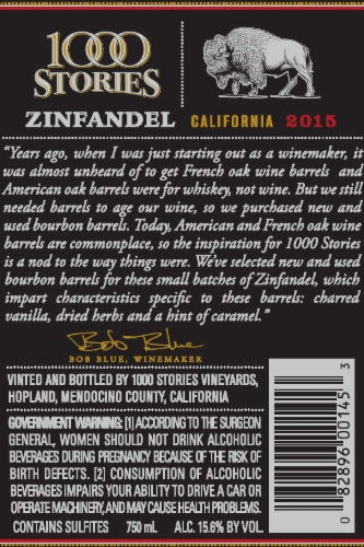 1000 Stories Bourbon Barrel-Aged Zinfandel Perspective: back