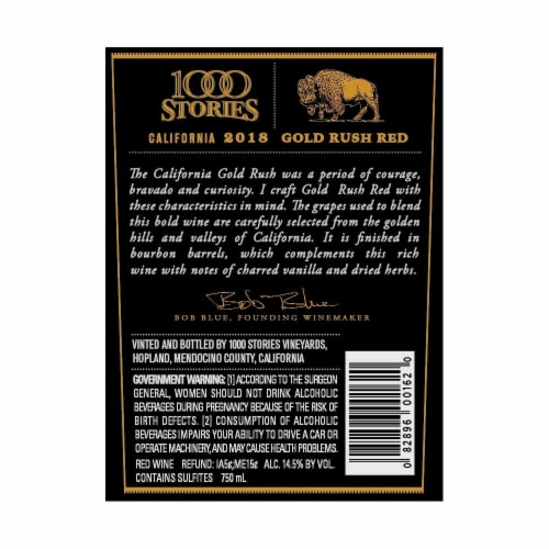 1000 Stories Bourbon Barrel-Aged Gold Rush Red Blend Perspective: back