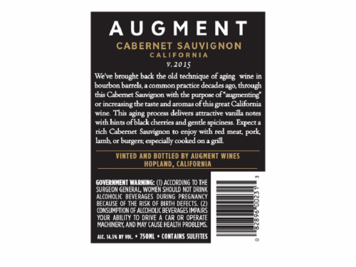 Augment Bourbon Barrel Cabernet Perspective: back