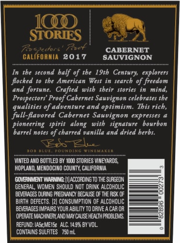 1000 Stories Bourbon Barrel-Aged Cabernet Sauvignon Perspective: back