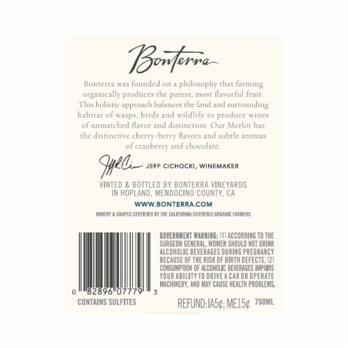Bonterra Merlot Red Wine Perspective: back
