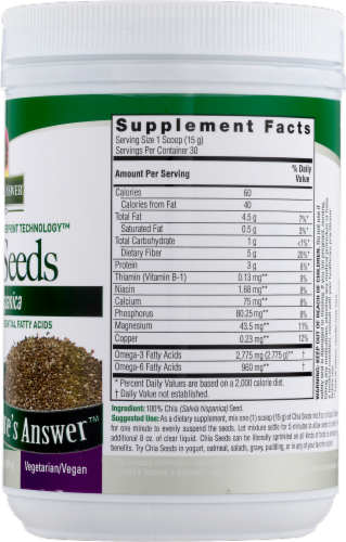Nature's Answer Chia Seeds Perspective: back