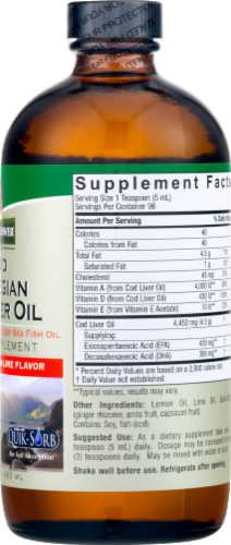 Nature's Answer Norwegian Cod Liver Oil Orange Flavored Dietary Supplement Perspective: back