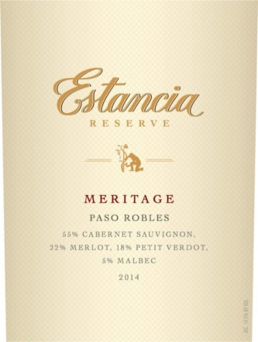 Estancia Reserve Paso Robles Meritage Red Blend Perspective: back