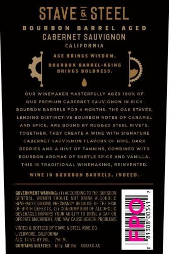Stave & Steel Bourbon Barrel Aged Cabernet Sauvignon Red Wine Perspective: back