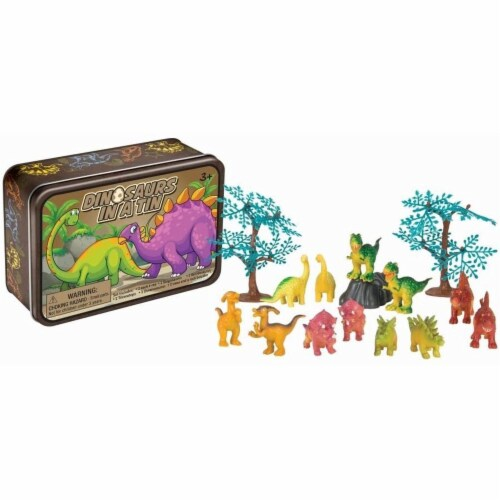15 Pc Dinosaurs in a Tin Travel Toy Set Perspective: back