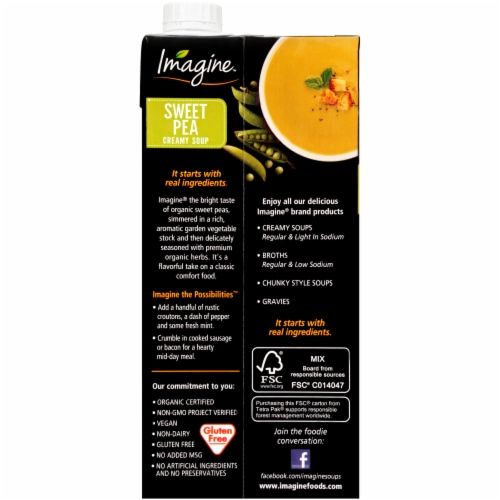 Imagine® Organic Creamy Sweet Pea Soup Perspective: back