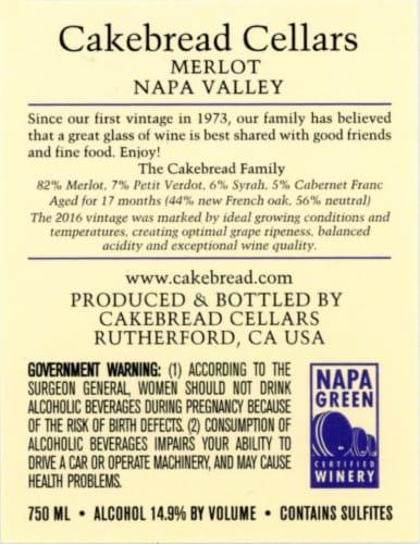 Cakebread Cellars Merlot Napa Valley Perspective: back