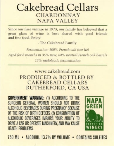 Cakebread Cellars Napa Valley Chardonnay Perspective: back