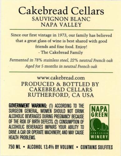 Cakebread Cellars Napa Valley Sauvignon Blanc Perspective: back