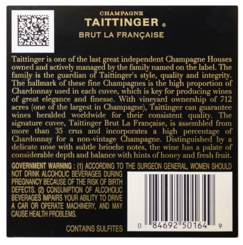 Taittinger La Francaise Brut Champagne Perspective: back