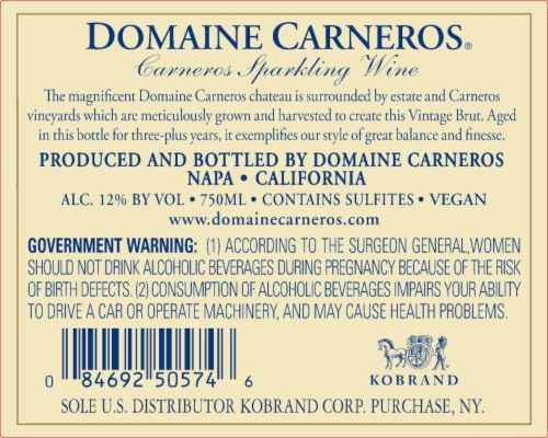 Domaine Carneros by Taittinger Brut Perspective: back