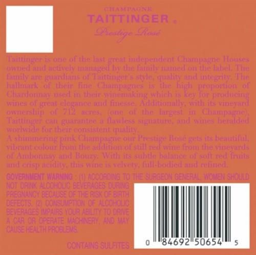 Taittinger Prestige Rose Brut Champagne Perspective: back