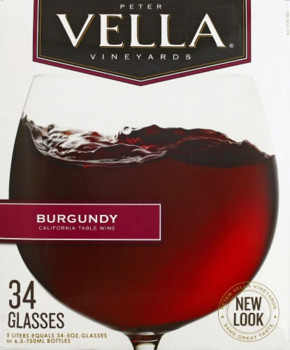 Peter Vella Burgundy Red Box Wine Perspective: back