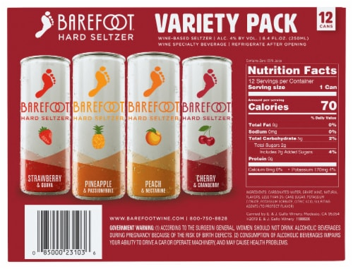 Barefoot Hard Wine-Based Seltzers Variety Pack Perspective: back