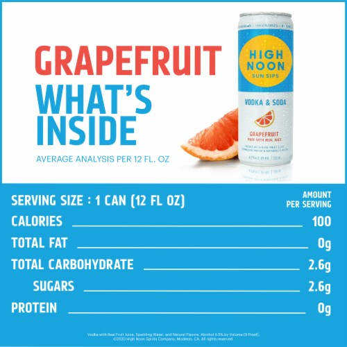 High Noon Grapefruit Vodka Hard Seltzer 4 Single Serve 355ml Cans Perspective: back
