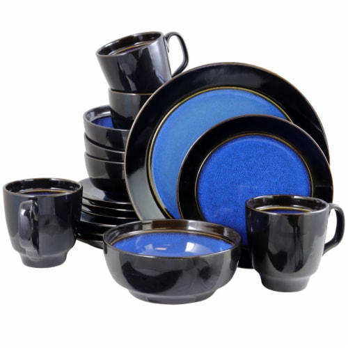 Gibson Elite Bella Galleria 16 Piece Dinnerware Set with Plates, Bowls, and Mugs Perspective: back