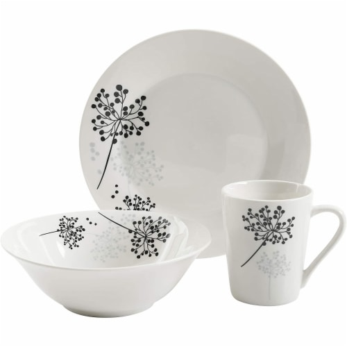 Gibson Netherwood 12 Piece Round Glaze Dinnerware Plates, Bowls, and Mugs, White Perspective: back