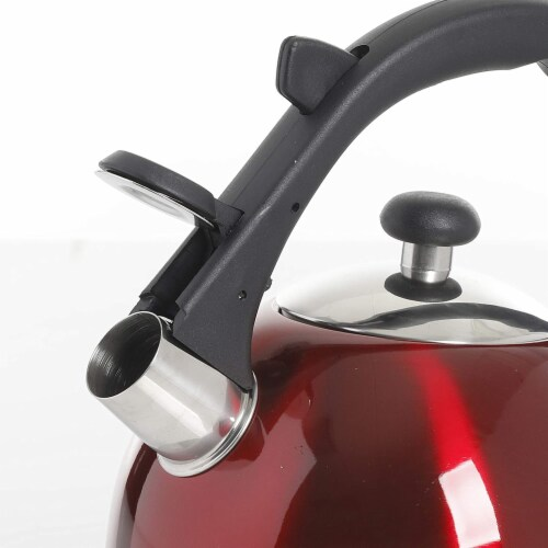 Mr Coffee 2.2 Quart Claredale Stainless Steel Stove Top Tea Pot Kettle, Red Perspective: back