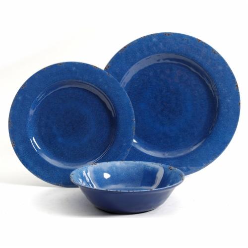Gibson Studio California Mauna 12-Piece Durable Melamine Dinnerware Set, Blue Perspective: back
