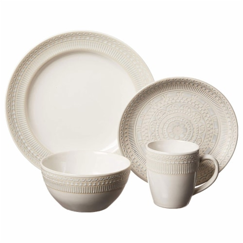 Gibson 16 Piece Reactive Glaze Dinnerware Set Plates, Bowls, and Mugs, Cream Perspective: back