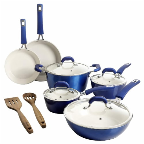 Kenmore Arlington 12 Piece Nonstick Ceramic Cookware and Accessory Set, Blue Perspective: back