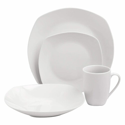 Gibson Porcelain 16 Piece Dinnerware Set Plates, Bowls, & Mugs, Classic Pearl Perspective: back
