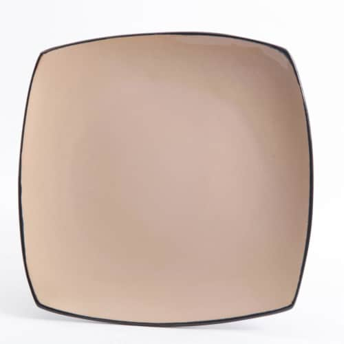 Gibson Soho Lounge 16 Piece Square Dinnerware Plates, Bowls, and Mugs Set, Taupe Perspective: back
