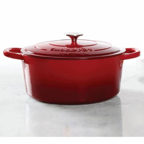 Crock-Pot 7 Quart Oval Enamel Cast Iron Covered Dutch Oven Slow Cooker, Red Perspective: back