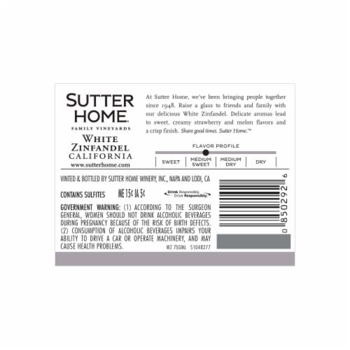 Sutter Home White Zinfandel Wine Perspective: back