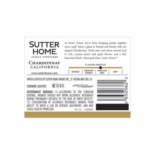 Sutter Home® Chardonnay White Wine Perspective: back