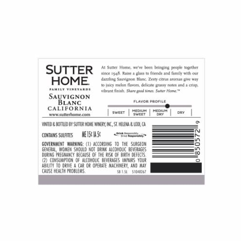 Sutter Home Sauvignon Blanc Perspective: back