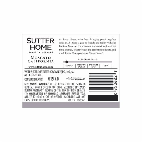 Sutter Home Moscato White Wine 1.5L Wine Bottle Perspective: back