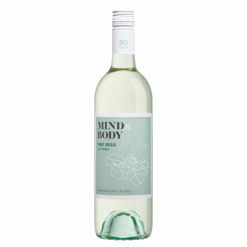 Mind & Body Pinot Grigio White Wine Low Calorie 750mL Wine Bottle Perspective: back