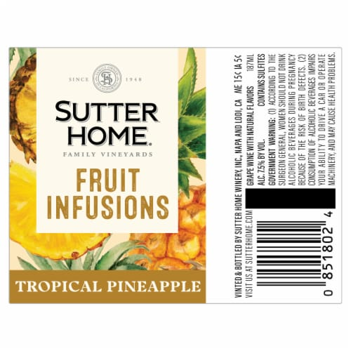 Sutter Home® Fruit Infusions Tropical Pineapple White Wine Perspective: back