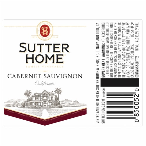 Sutter Home® Cabernet Sauvignon Red Wine Perspective: back