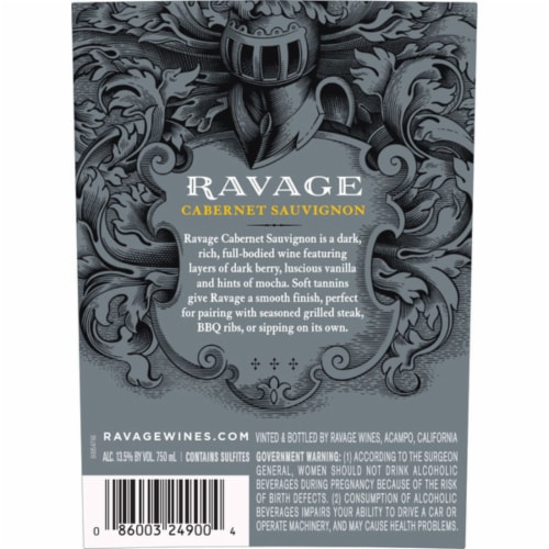 Ravage Cabernet Sauvignon Red Wine Perspective: back