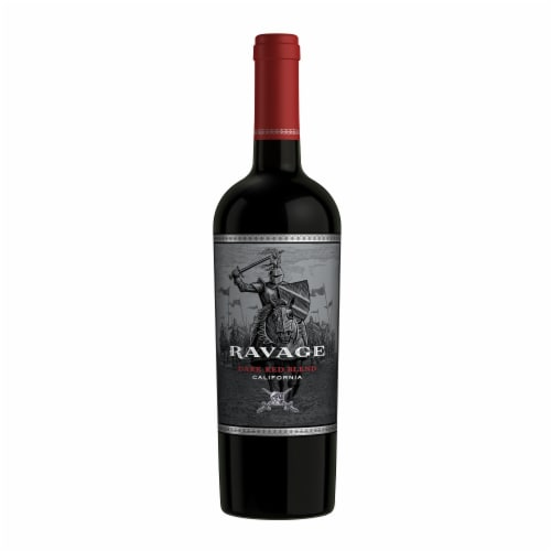 Ravage Dark Red Blend Wine Perspective: back