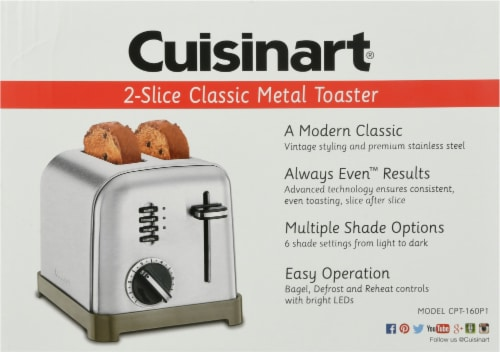 Cuisinart Metal Classic 2-Slice Toaster - Silver Perspective: back