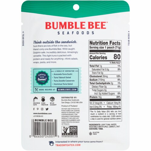 Bumble Bee Wild Caught Light Tuna in Water Pouch Perspective: back