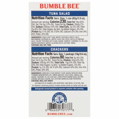 Bumble Bee® Snack On The Run Tuna Salad with Crackers Perspective: back