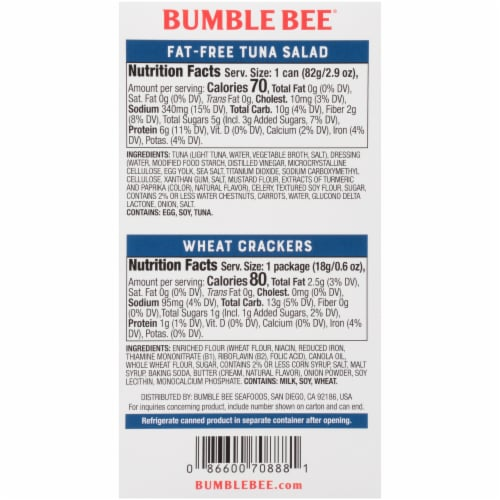 Bumble Bee Snack on the Run Fat-Free Tuna Salad with Wheat Crackers Kit Perspective: back