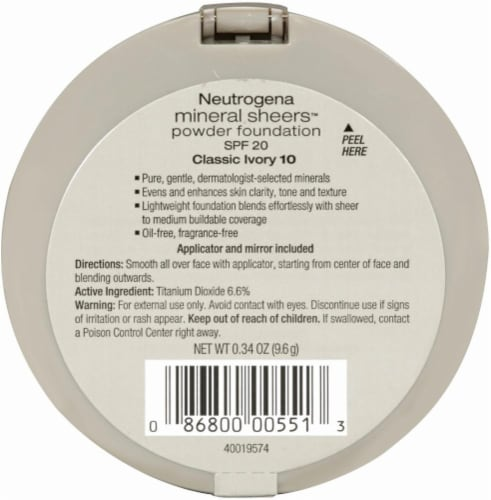 Neutrogena Mineral Sheers 10 Classic Ivory Powder Foundation SPF 20 Perspective: back