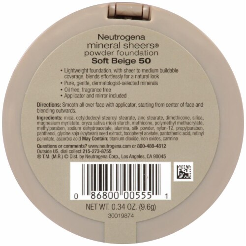 Neutrogena Mineral Sheers Soft Beige Powder Foundation Perspective: back