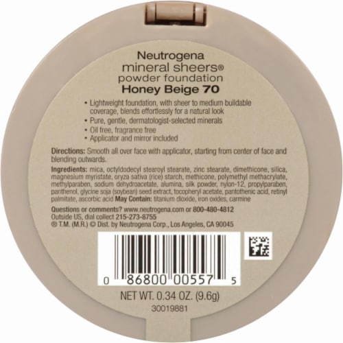 Neutrogena Mineral Sheers 70 Honey Beige Powder Foundation SPF 20 Perspective: back