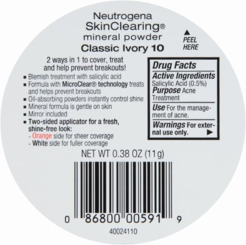 Neutrogena SkinClearing 10 Classic Ivory Mineral Powder Perspective: back