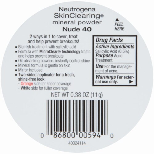 Neutrogena SkinClearing 40 Nude Mineral Powder Perspective: back